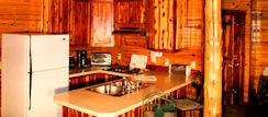 Full Extended Stay Vacation Kitchen in Eureka Springs Log Cabin