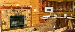 Cottage feel in front of the Ozark Stone Fireplace