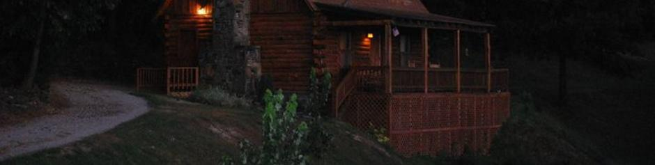 Night Time Log Cabin Picture in the Ozarks